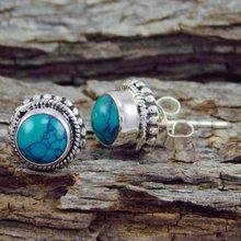 В богемном стиле, с голубым камнем серьги-гвоздики в виде капель с кристаллами в форме для женщин подарок ретро серьги-гвоздики, серьги, боге...
