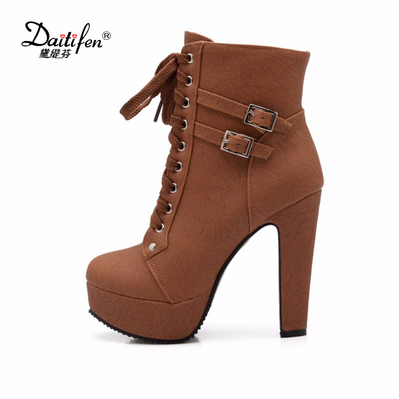 Daidifen 2017 Autumn Winter Women Ankle Boots high heels lace up leather double buckle platform short booties new Plus size 48