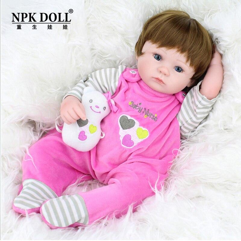 45 см новые силиконовые голову рукой ткани тела Reborn Baby Doll Дети Playmate подарок для девочек детские мягкие игрушки для букетов куклы bebe Reborn