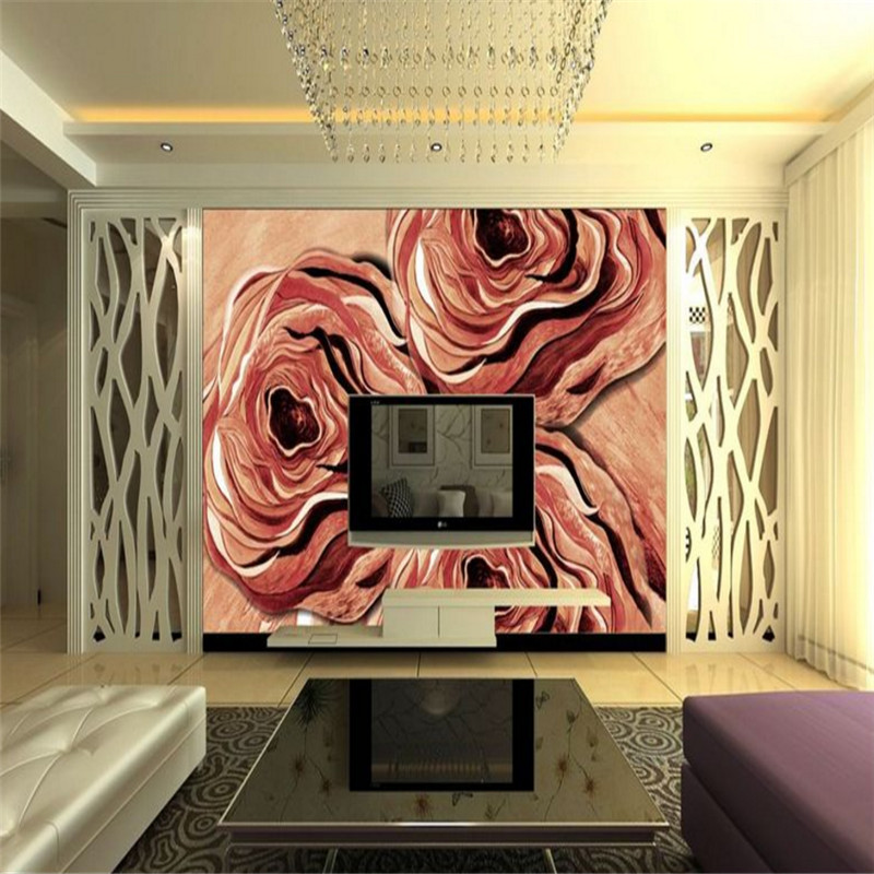 custom any size modern 3d non-woven wallpaper mural 3d wallpaper abstract rose oil painting TV background wall home decor beibehang modern luxury circle design wallpaper 3d stereoscopic mural wallpapers non woven home decor wallpapers flocking wa