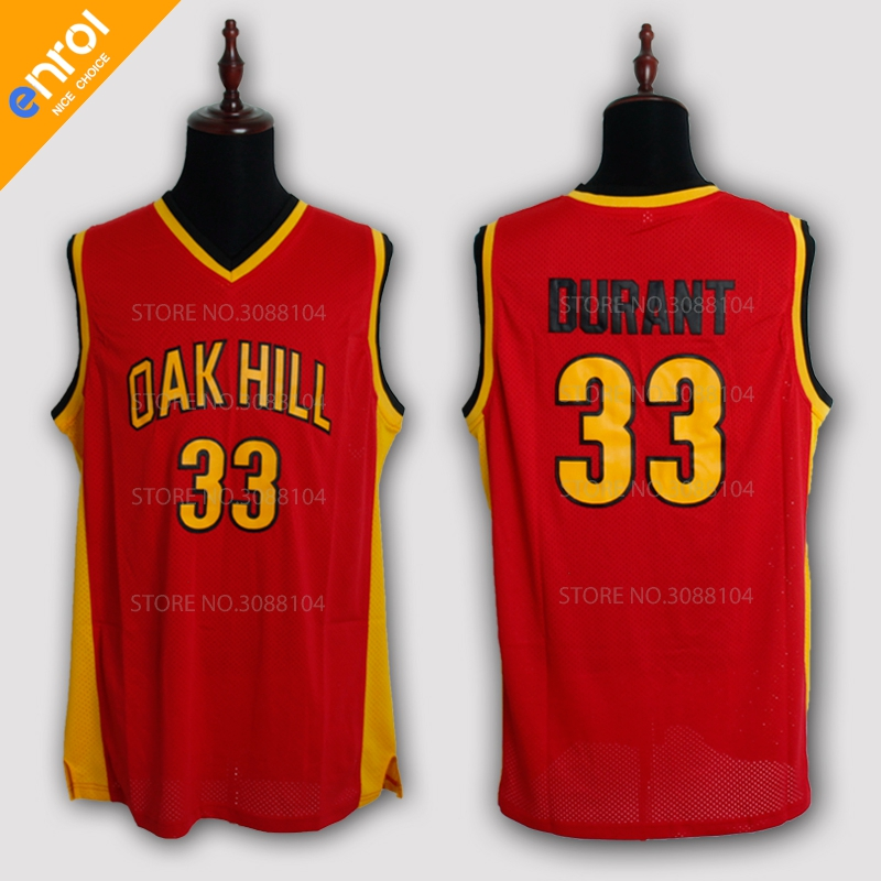 94b748926 Men Cheap Kevin Durant Basketball Jerseys 33  Oak Hill High School  Throwback Stitched Embroidery Retro High Quality Shirts