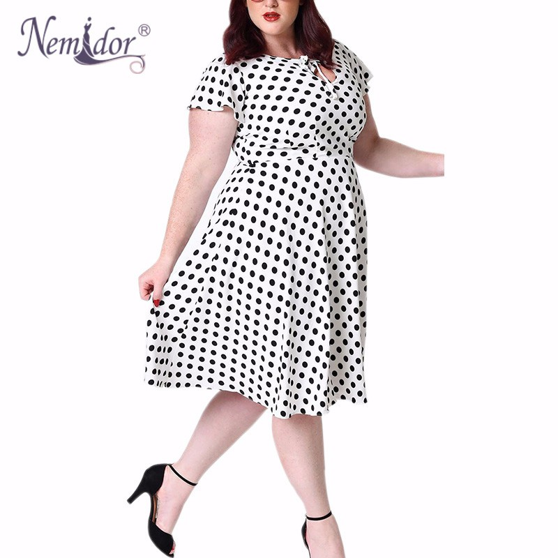 Unique_Vintage_Plus_Size_1940s_Style_White_Black_Dot_Formosa_Swing_Dress_5