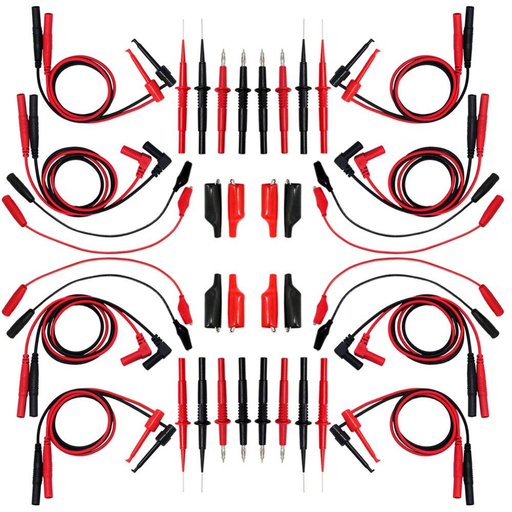 Test de pointe à aiguille AideTek 4 fils TL809 pour multimètre quatre pinces alligator avec isolant amovible 4TLP20158
