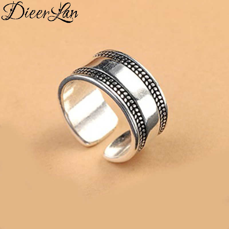 DIEERLAN Bijoux Fashion Bohemian Antique Punk Large Rings Vintage Wedding Jewelry 925 Sterling Silver Rings for Women Ladies