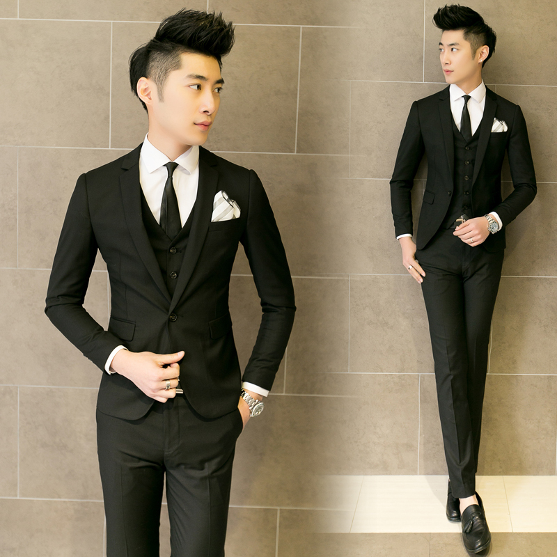 f71306a6e6f6 The Korean version of Slim small suit three pieces of men's business suit  stylist wedding dress new singer clothing-in Suits from Men's Clothing on  ...
