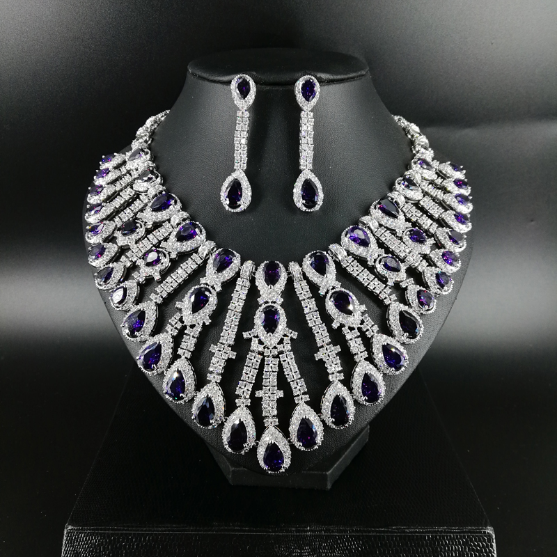 New fashion Luxury purple water droplet zircon necklace earring wedding bride banquet dressing dinner jewelry set