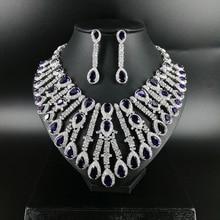 купить New fashion Luxury purple water droplet zircon necklace earring wedding bride banquet dressing dinner jewelry set,free shipping дешево