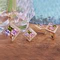 Luxo marca Zirconia conjunto de jóias Metal ouro cobre brinco jóias de noiva Sets Neclace define