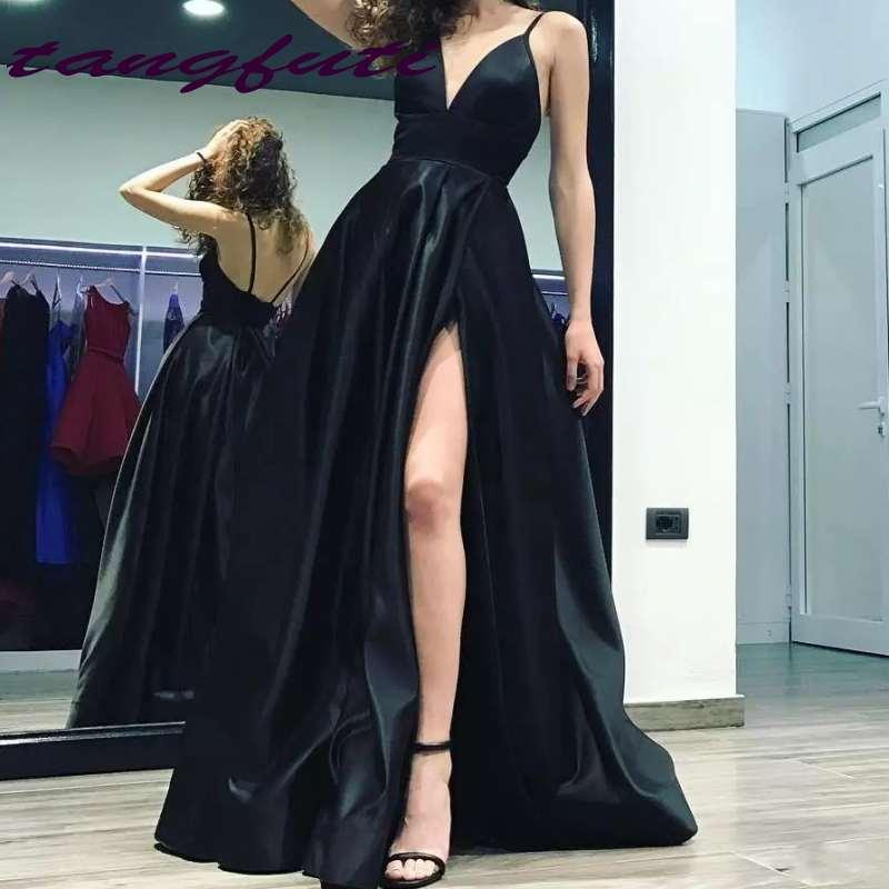Sexy noir profond col en v a-ligne robes de soirée bretelles Spaghetti longues fentes dos nu Court Train Satin robes de soirée formelles