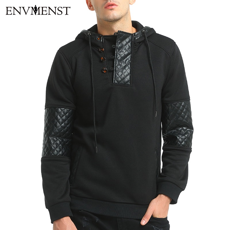 2017 Brand Black Men Hoodies Sweatshirts Patchwork Design PU Leather Men Hoodies Punk Rock Pullover Fashion Pocket Streetwear