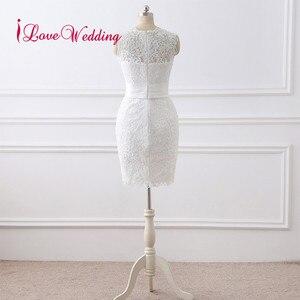 Image 3 - 뜨거운 판매 2020 짧은 웨딩 드레스 Vestido 드 Noiva 특종 칼라 레이스 Applique 무릎 길이 우아한 웨딩 드레스 실제 사진