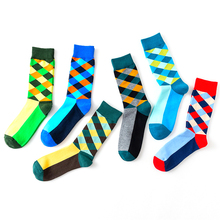 New womens fashion color diamond square cotton high quality combed colorful boutique casual socks 1 pairs