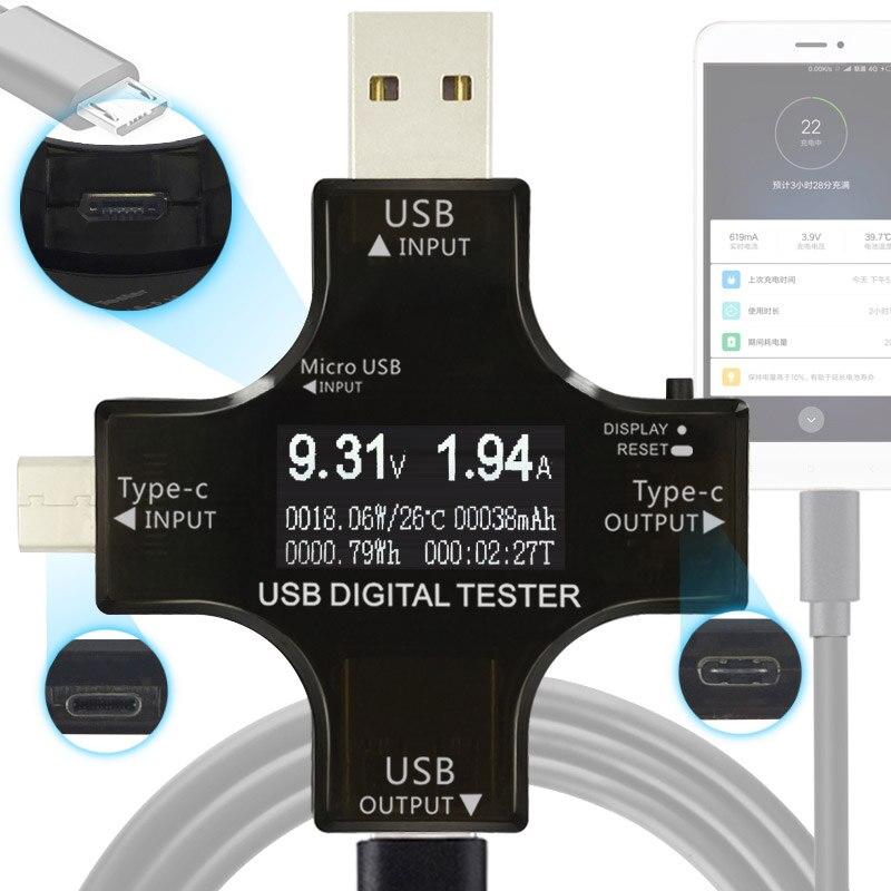 12 in 1 Type-C PD USB tester DC Digital voltmeter current voltage meter amp volt ammeter detector power bank charger indicator