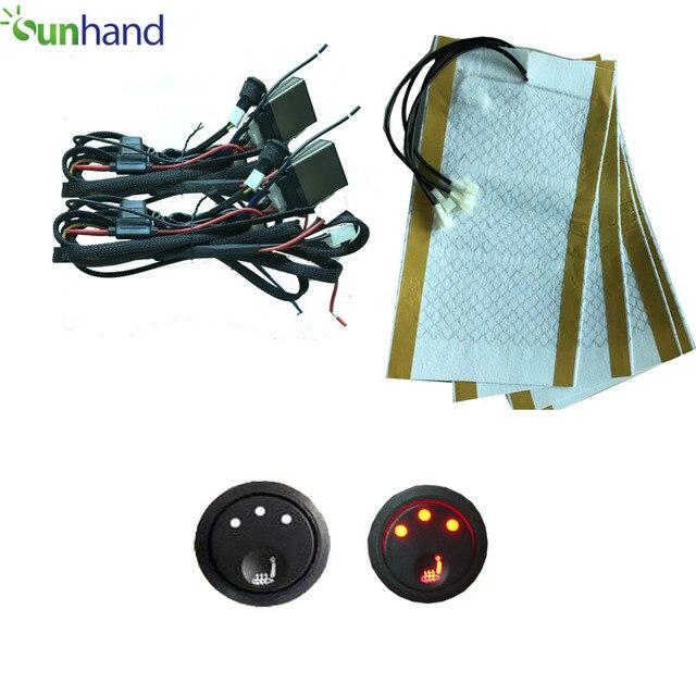 Carbon Fiber Seat Heater Kit Hi/Lo Setting, 2 Seats Built in Car Heated Seat Heater Pad Seat Warmer Covers Kit Carbon Fiber Prem