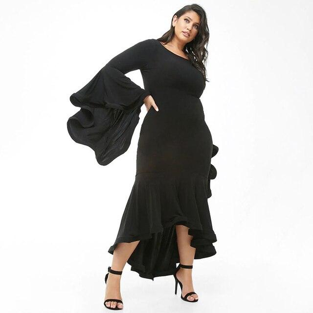 2019 Black Sexy Party Women Dress Big Size Ruffles 4xl 5xl Long Maxi Dress Large Size Bodycon Dress Plus Size vestidos Elegant 1