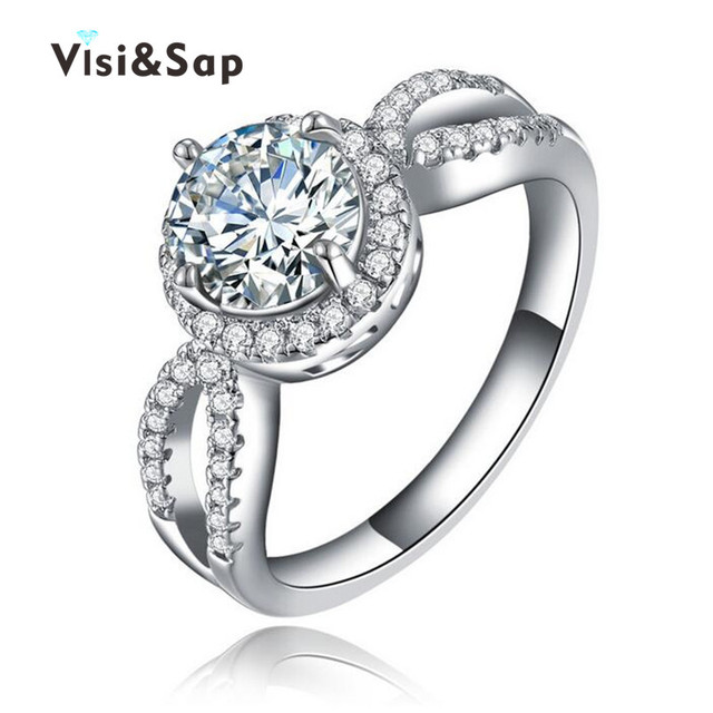 Visisap Rings for women 2ct round stone CZ brilliant White gold color ring wedding Engagement fashion jewelry VSR076