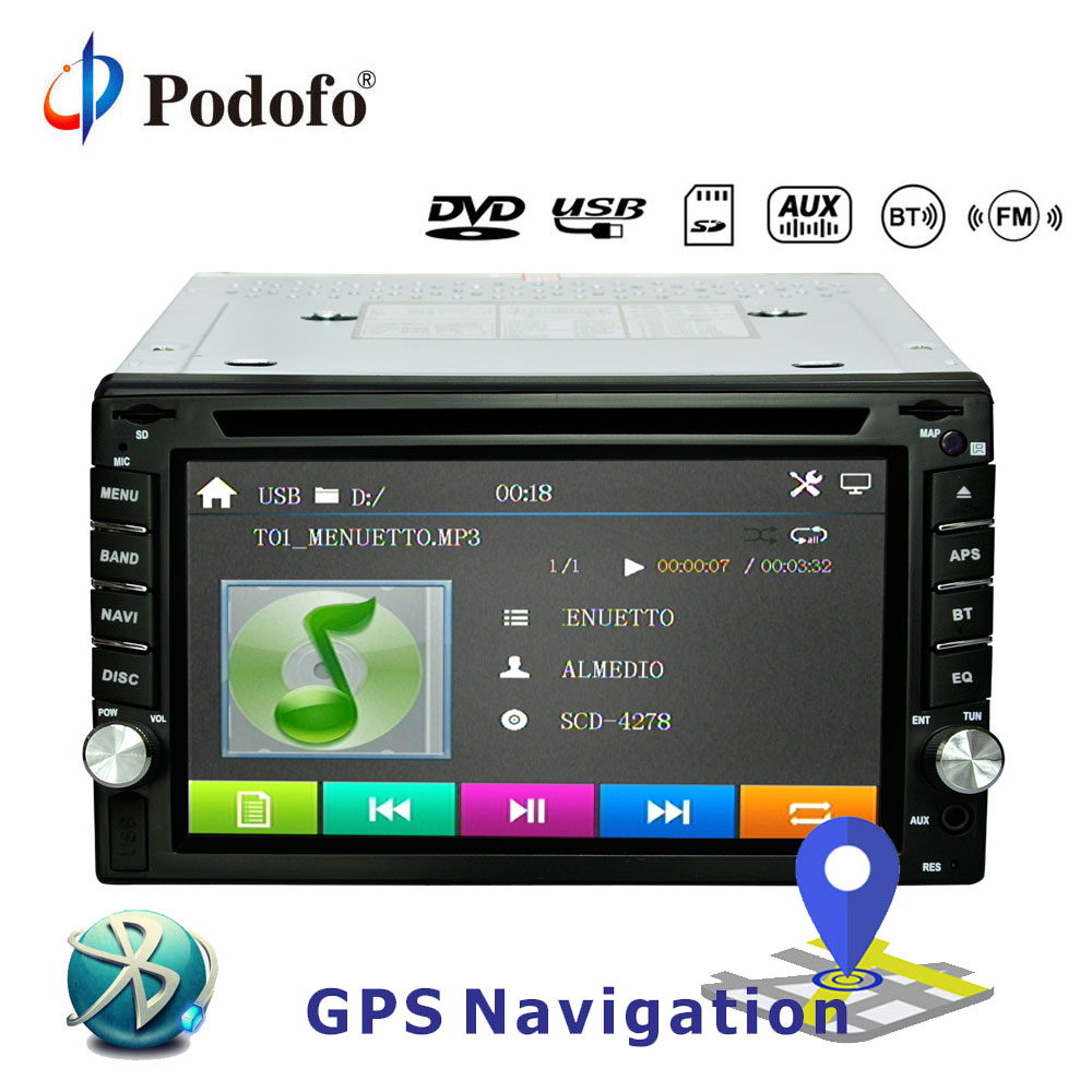 Podofo 2din Universal Car Radio Car DVD Player GPS Navigation In dash Bluetooth Car Audio Stereo Video Free Map Car multimedia цена