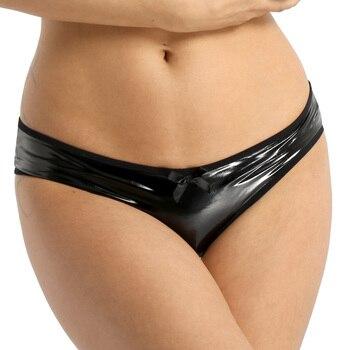 Ropa interior de mujer, aspecto mojado, cuero, sin entrepierna y espalda abierta, suspensorio, tiro bajo, Bikini, ropa interior, bragas abiertas en la entrepierna