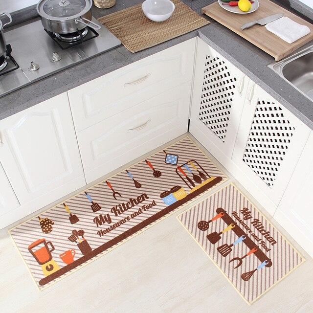 2 pcs kitchen mat anti slip japan style cartoon rubber