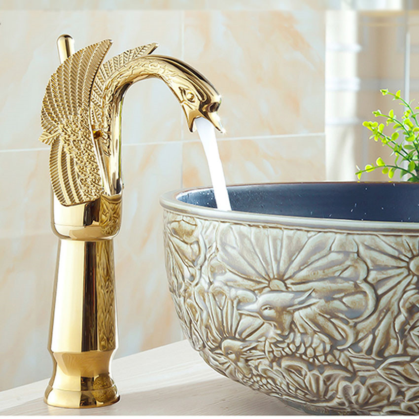 1PC SY-8005 New Design Luxury Copper hot and cold taps Swan faucet Gold plated gold wash basin faucet high gold color swan design hot