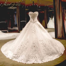 Marfoli pakaian perkahwinan mewah 2017 dengan manik dan renda gaun bola putih / gading gaun pengantin gambar sebenar saiz adat WD15009