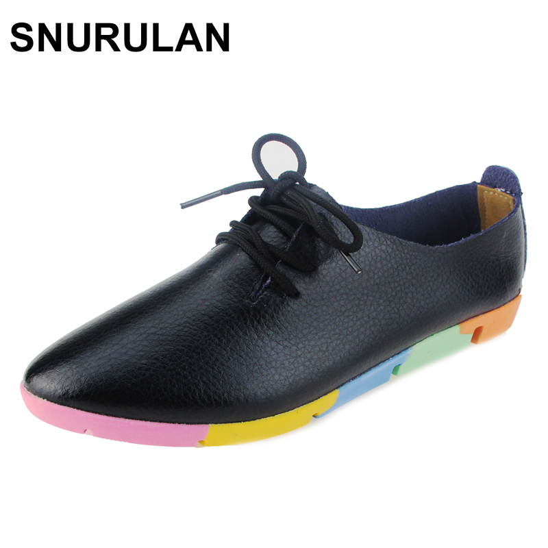 SNURULAN New Autumn Women's Casual Shoes Genuine Leather Woman Loafers Lace-Up Female Flats Shoe Pointed Toe Footwear Plus Size front lace up casual ankle boots autumn vintage brown new booties flat genuine leather suede shoes round toe fall female fashion