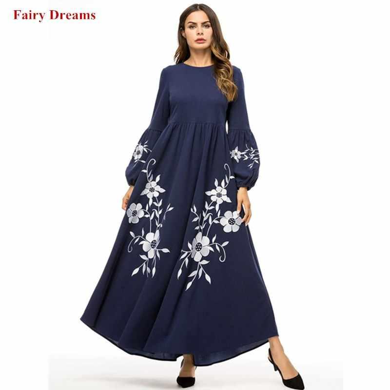 9153f2776e Dubai Abayas For Women Dark Blue Flowers Print Muslim Dress Kaftan Turkish  Arab Islamic Clothing Long