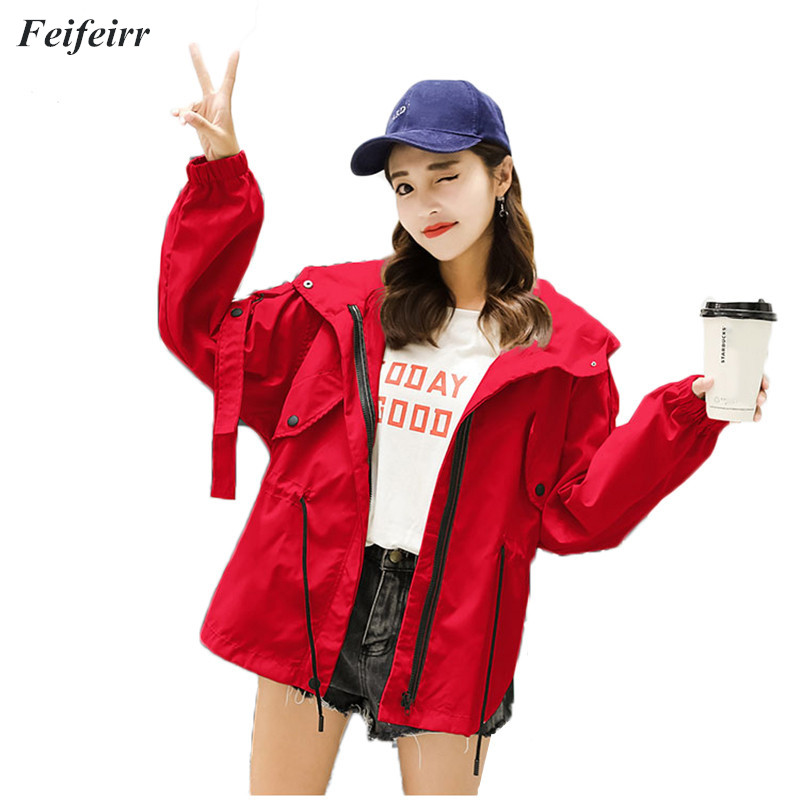 Spring Autumn new Korean loose casual in long section Hooded windbreaker jacket temperament Fashion large size women's coat