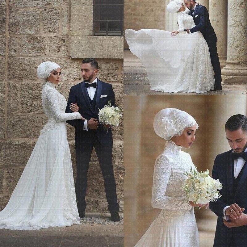 2019 Long Sleeves Muslim Wedding Dress High Neck Lace Long robe de mariage Islamic Arabic Wedding Dresses Vestido De Novia-in Wedding Dresses from Weddings & Events    1