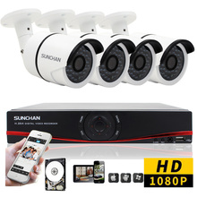 SUNCHAN Security Camera System 8CH CCTV System 4 x 1080P Outdoor Waterproof Surveillance System Cameras Seguridad Home 1TB