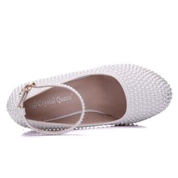 Cuñas De Novia Blancas | Cristal Reina Mujer Plataforma Cuñas Blanco Marfil Perla Cristal Diamantes De Imitación Boda Zapatos Tacones Altos Cuñas 11,5 Cm