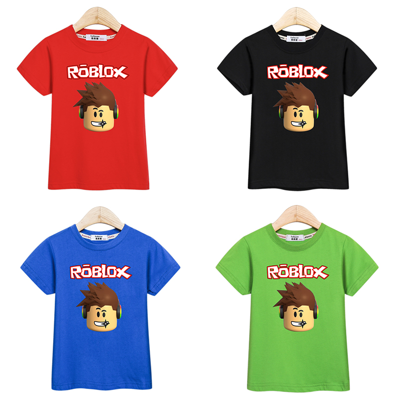 Little boy shirt full cotton kid tees Roblox fashion design printed casual clothes baby boys t-shirt summer kids tops costume(China)