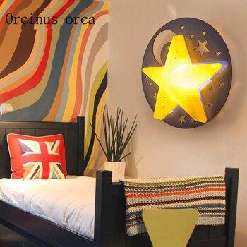 Kreative Cartoon Sterne Mond Wand Lampe Kinderzimmer Jungen Und Madchen Schlafzimmer Lichter Led Wand Lampen Kostenloser Versand
