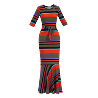 Sexy Vintage Merimaid Dress Women O Neck Casual Long Flare Sleeve Long Dress Mesh Plus Size