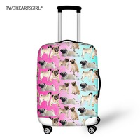TWOHEARTSGIRL Cute Puppy Pug Dog Travel Luggage Cover Elastic 18-28inch Trolley Suitcase Cover Zipper Rain Dust Cover