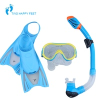 Kids Children Snorkeling Swimming Diving Scuba Mask Snorkel Fins Flippers Set Free Shipping