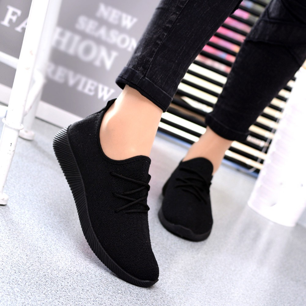 YOUYEDIAN Sneakers Women Chaussure Shoes Black Breathable Femme Shallow title=