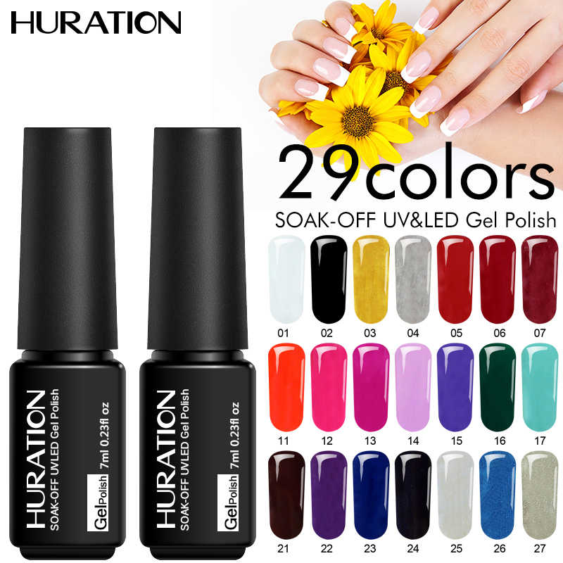 Huration Gellak Gel Telanjang 29 Warna Semi Permanen Hybrid Pernis LED Uv Gel Nail Polish Rendam Off 7 Ml Stamping enamel Paint