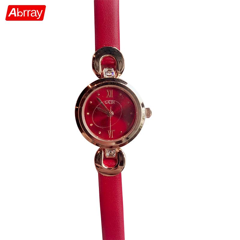 Abrray Simple Dial Quartz Women Watch Roman Numeral Ladies Dress Watches With Thin Soft Strap Fashion Leather Wristwatch Jewelry