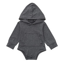 Infant Baby Boys Girls Long Sleeve Solid Hoodie Jumpsuit newborn romper Spring Autumn Clothes Baby Jumpsuit for kid Drosphipping(China)