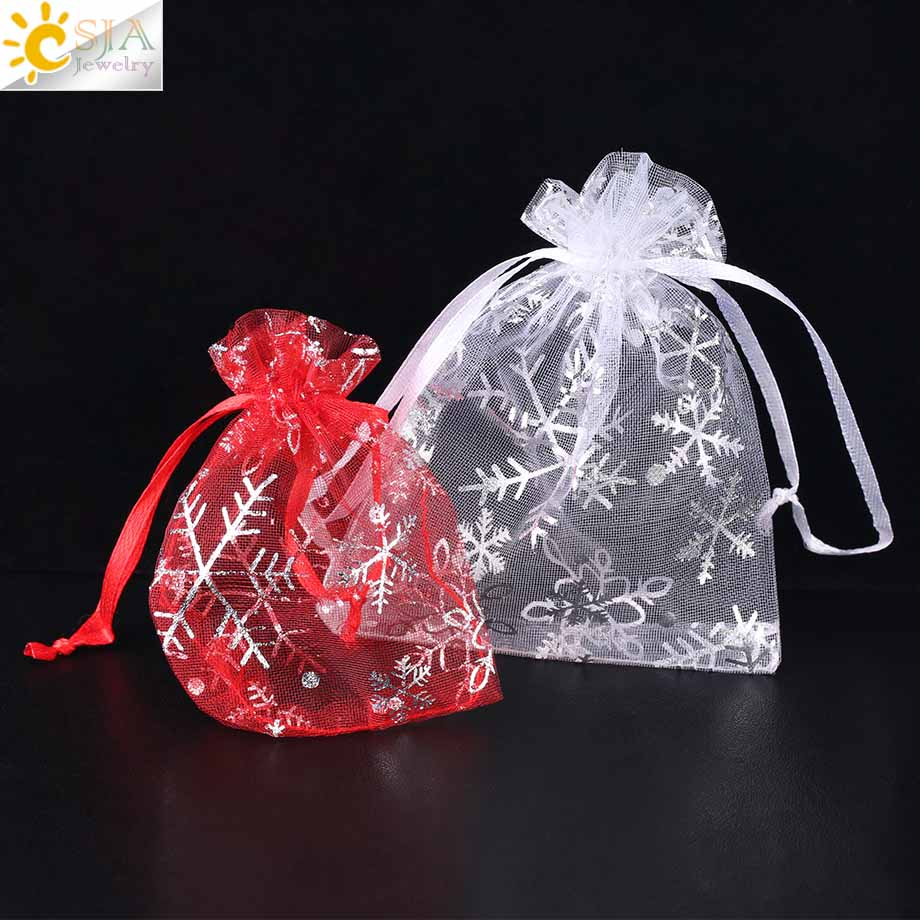 CSJA 10Pcs 12x9cm 9x7cm Organza Bag White Red Party Wedding Gift Pouches Jewelry Packaging Display Decoration Small Bags F479