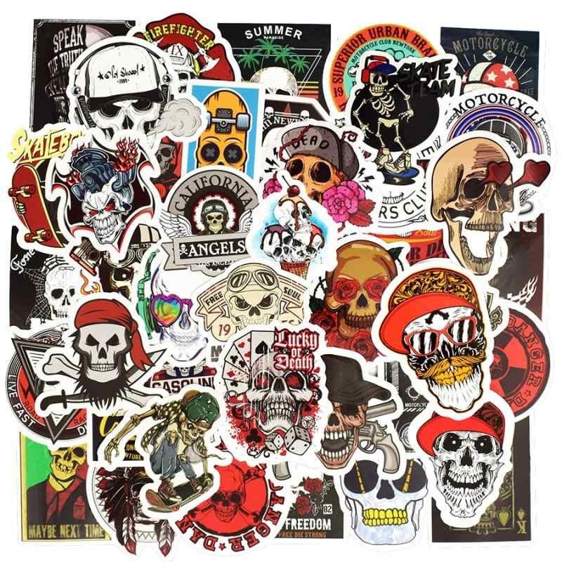 50 unids/lote Graffiti Punk esqueleto pegatinas calavera Cool Rock motocicleta pegatinas Scrapbooking Laptop Skateboard maleta guitarra Coche