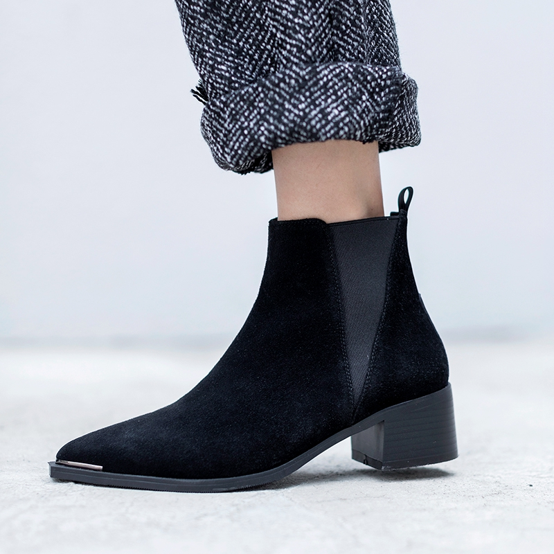 2019 New Fashion Women 39 s boots Spring Autumn Genuine Leather Boots Woman Basic High Top Ankle Boots Booties Pump Med Heels Shoes in Ankle Boots from Shoes