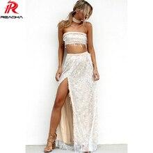Reaqka 2018 Summer Women Two Pieces High Split Long Sequins Dress Evening Club Wear Sleeveless Maxi Party Dresses Vestidos Blue