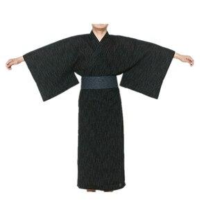 2017 męskie fajne tradycyjne japońskie Kimono męskie bawełniane szaty Yukata szlafrok męski Kimono bielizna nocna z paskiem 62503