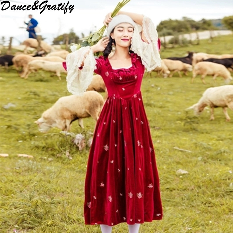 d06d408301ef Women Vintage Long Maxi Christmas Party Dress High Quality Embroidery  Flower Lace Velvet Patchwork Big Swing Dresses