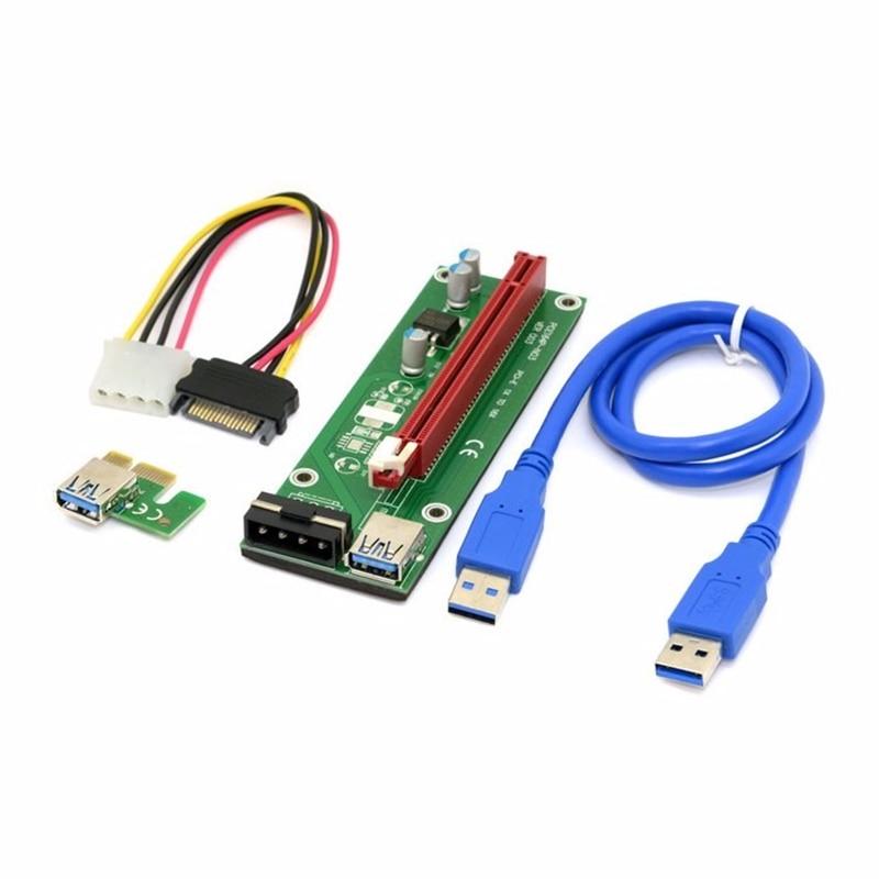 bilder für 60 cm USB 3.0 PCI-E Expresso 1x eine 16x Riser Cartao Extender Adaptador De Energia SATA Cabo Com molex Poder SATA15Pin-4Pin cabo