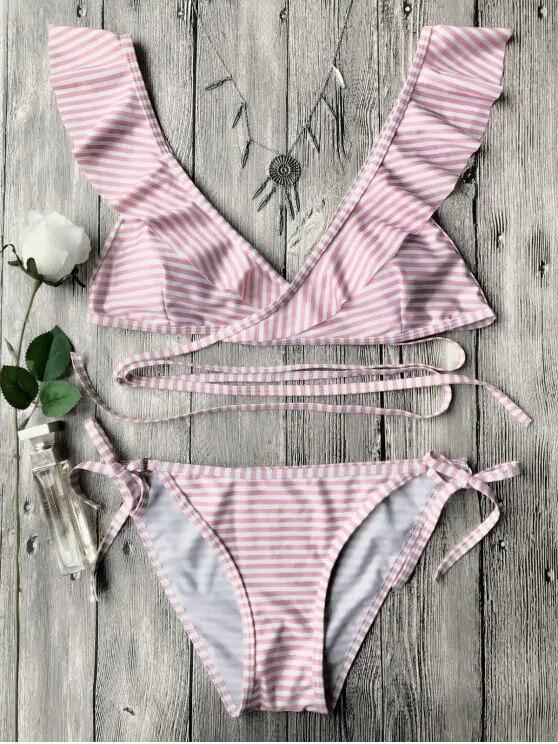 HTB1ZkbeXEGF3KVjSZFvq6z nXXaL Push up Bikini Set Women Halter Ruffle Biquini Swimwear Low Waist Sexy Swimsuit Women Beach Bathing Beachwear Bandage Bikini Set