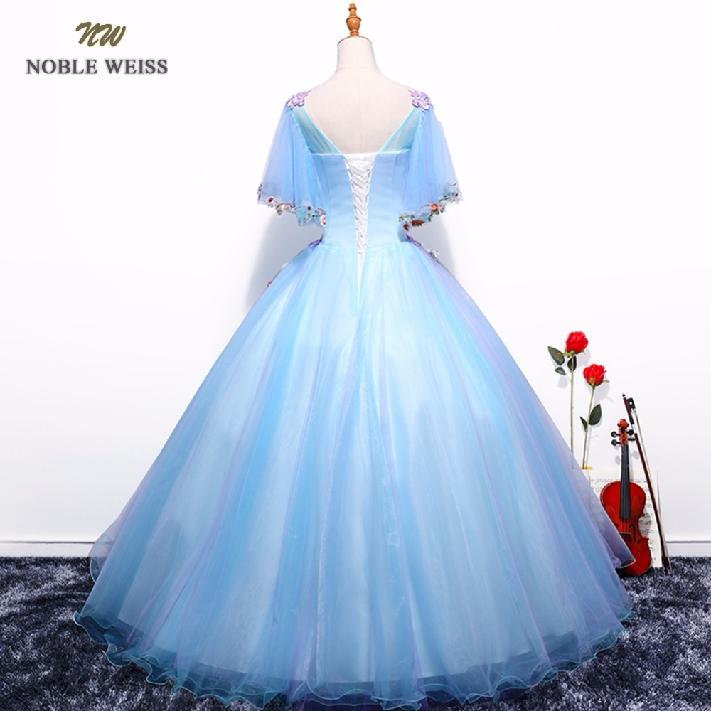 NOBLE WEISS Sexy Sky Blue Prom Dresses Flower Appliques Beading Robe De Soiree Ball Gown Organza Prom Gown With Short Sleeves