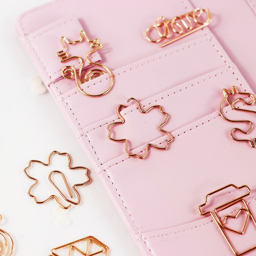 Kawaii Rose Gold Paper Clips Metal Clear Binder Clips Bookmark Cat Planet Diamond Tickets Paper Clip School Office Stationery